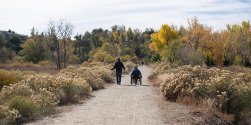 Birding without barriers on path by Rachel Woolf.
